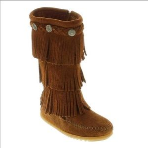 Kids Size 10 Minnetonka Fringed Suede Boots